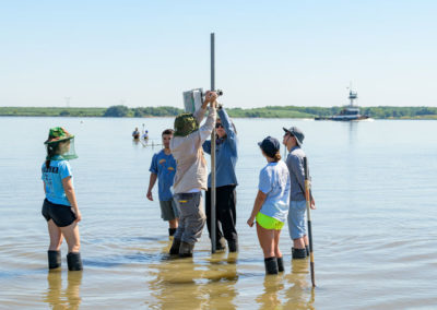 Rachel Schaefer and research team on Pea Patch Island
