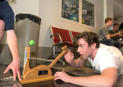 Chemical engineering students participate in an exercise