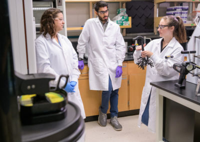 Azeem Sharief, a junior in chemical engineering, is working on summer research with assistant professor of Chemical and Biomolecular Engineering Catherine Fromen  and graduate student Emily Kolewe, on 3D Printed Human Lung Morphology Models for Particle Transport and Deposition Studies