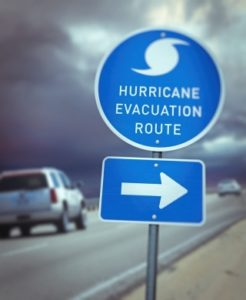a sign for a hurricane evacuation route is pictured