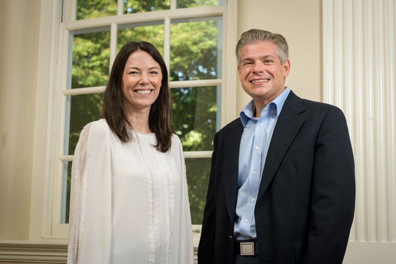 Emily Day (left) is an assistant professor of biomedical engineering and Joel Rosenthal is an associate professor of chemistry and biochemistry.
