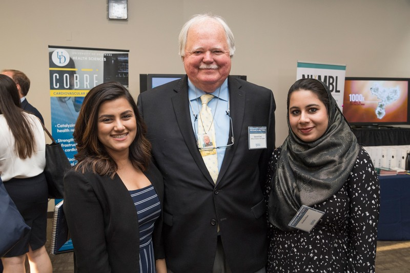 Prof. Ed Freel (center), senior fellow in UD's Institute for public Administration, met with students who had been part of UD's Spring Semester In Washington, D.C. Program, including Sanika Salim (left), now executive assistant to the chief of staff in the office of U.S. Sen. Tom Carper, and Areeba Khan, an intern in the office of U.S. Sen. Chris Coons.