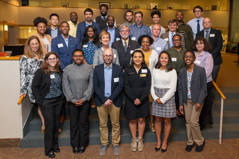 Some of the 2019 Students of Distinction gathered with their faculty-staff nominators at the annual dinner at Clayton Hall.