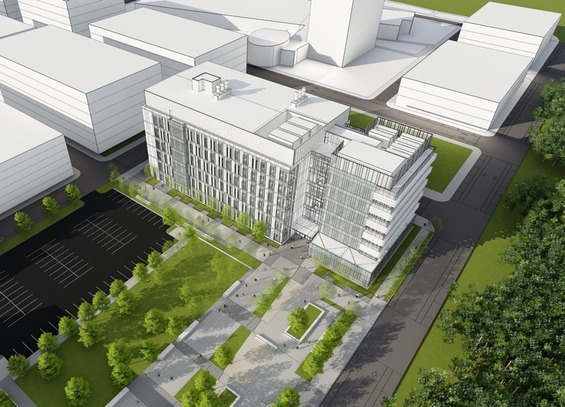 An artist's rendering of the Ammon Pinizzotto Biopharmaceutical Innovation Center, which is under construction, and possible future buildings nearby, on the Science, Technology and Advanced Research (STAR) Campus at the University of Delaware.