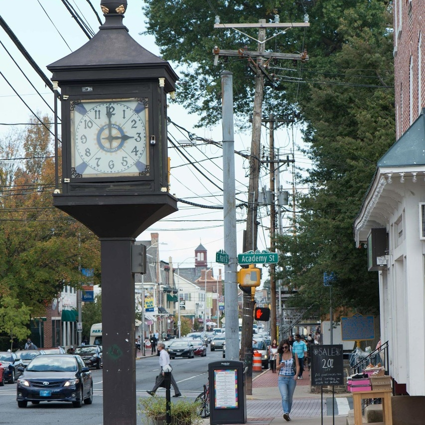 The clock located on Main Street, Newark, Delaware