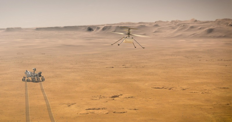 When NASA's Ingenuity Mars Helicopter attempts its first test flight on the red planet, the agency's Mars 2020 Perseverance rover will be close by, as seen in this artist's concept. Ingenuity, a technology experiment, will be the first aircraft to attempt controlled flight on another planet. When it attempts its test flights on Mars in spring 2021, Ingenuity will remain within a 0.6-mile radius of Perseverance so it can communicate wirelessly with the rover. Perseverance then communicates with relay orbiters around Mars that send the signal back to Earth.