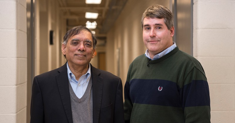 Dr. Dhurjati, left, is pictured with collaborator Deni Galileo, associate professor of biological sciences and president of the UD Chapter of AAUP.