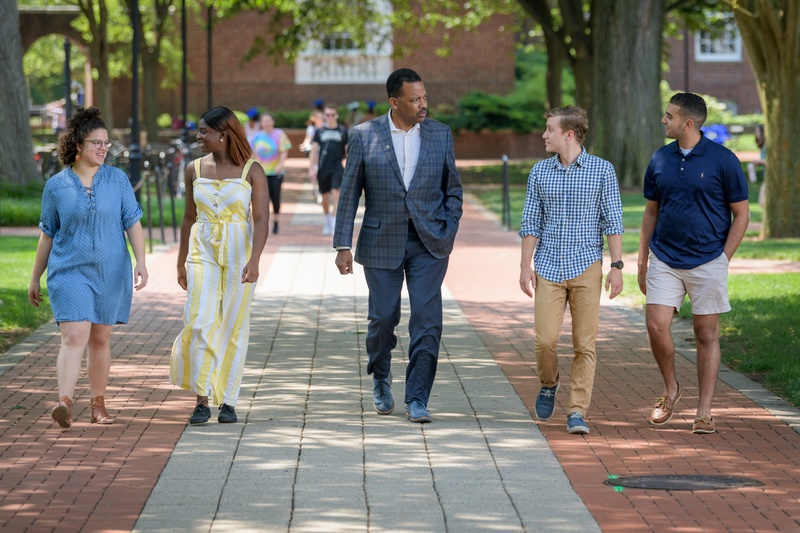 Dean Thompson with Students