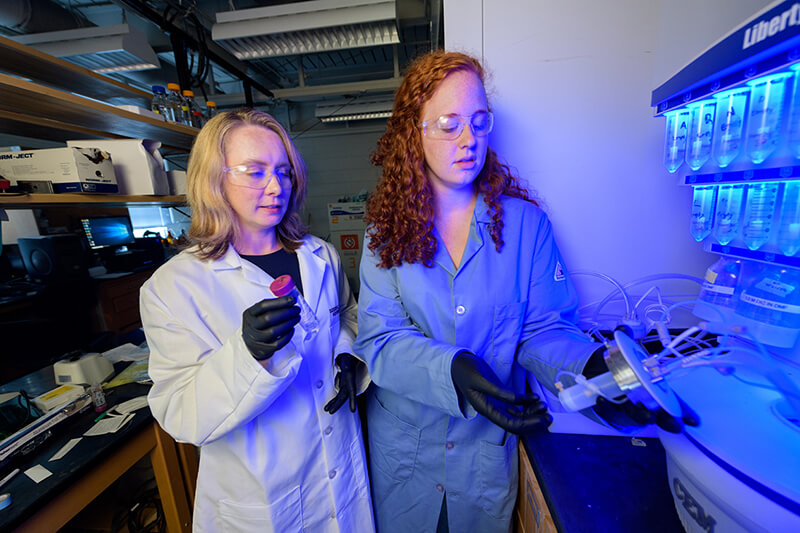 Dr. April Kloxin, associate professor of Chemical and Biomolecular Engineering. Pictured here with Chemical Engineering doctoral student Samantha Cassel.