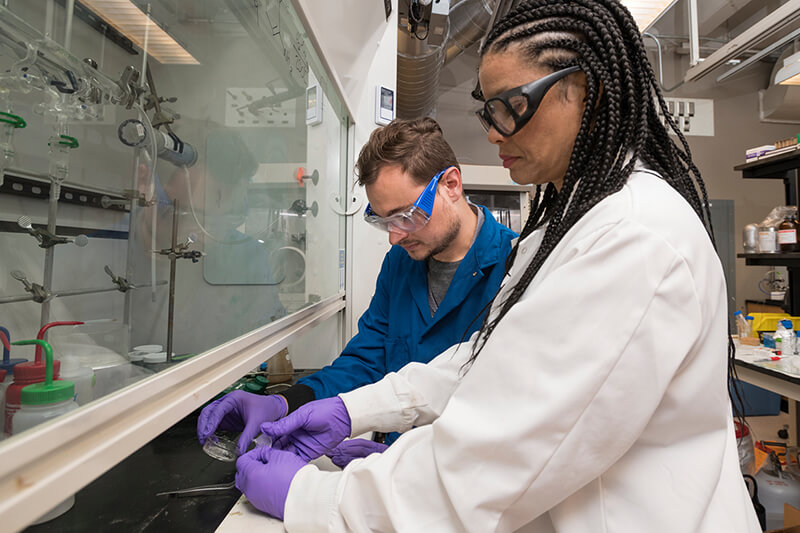 LaShanda Korley and Chase Thompson work together on bioinspired materials in her lab in Colburn Lab.