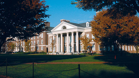 Exterior of DuPont Hall from the Green