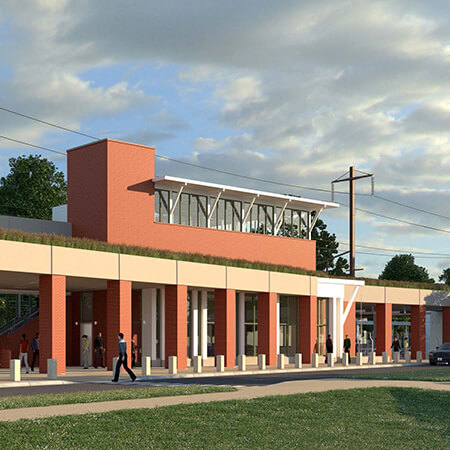 Artist's rendering of the newly constructed Newark Train Station