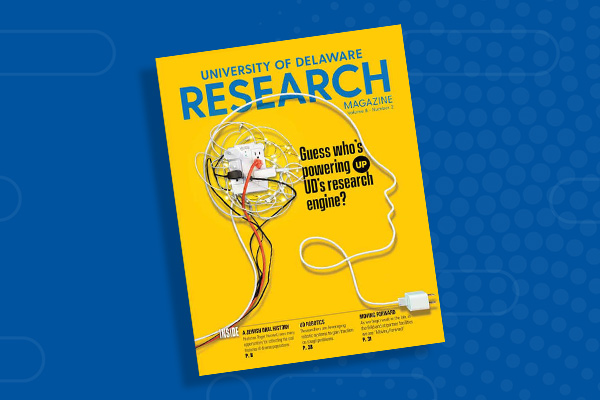 Yellow cover of UD Research Magazine with outline of a human head made with wires.