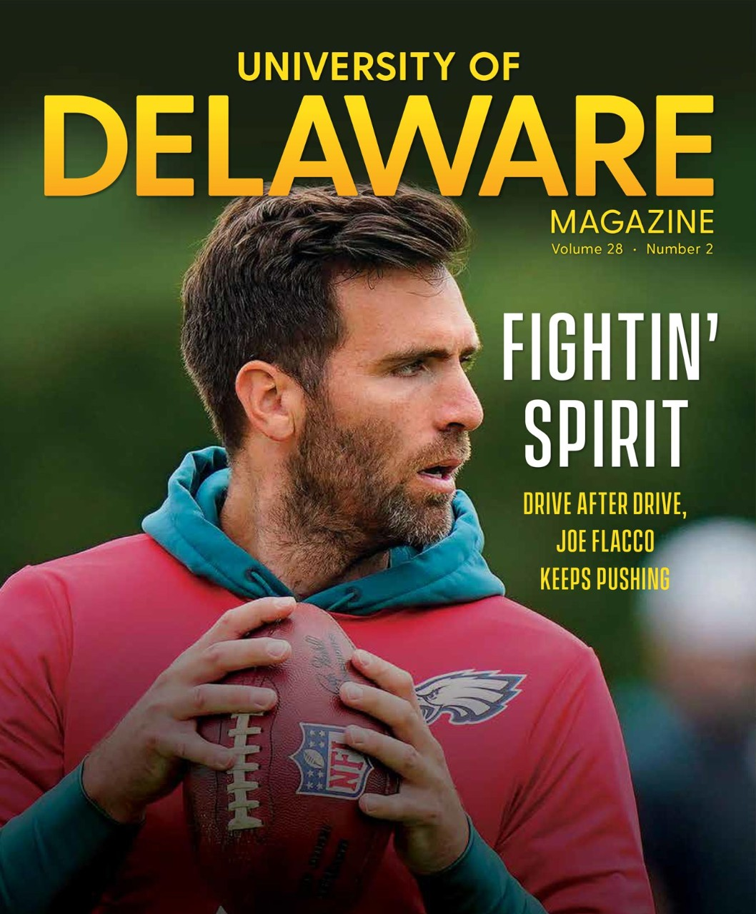 UD Magazine Cover with image of professional football player, Joe Flacco.